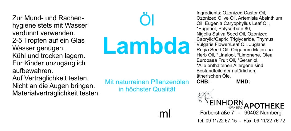 Öl Lambda 20,0g (auf VO Rizol Lambda genannt)