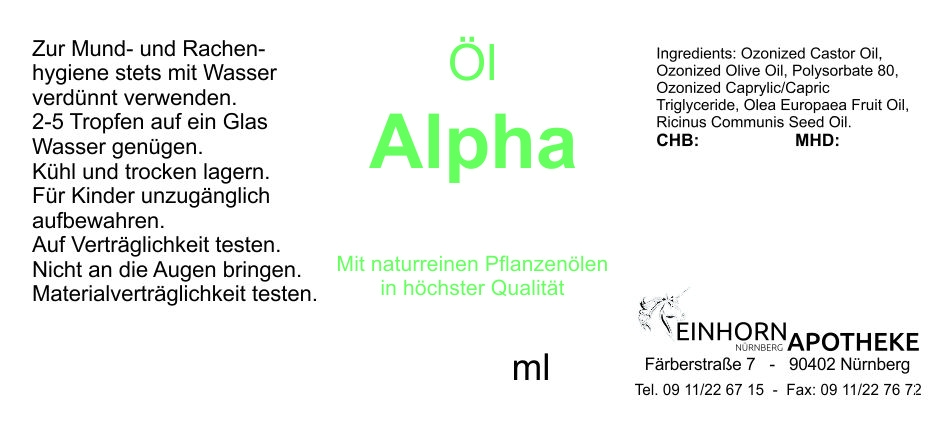 Öl Alpha 20,0g (auf VO Rizol Alpha genannt)